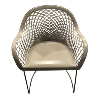 Cliff Young Arc Arm Chair in Grey Leather For Sale