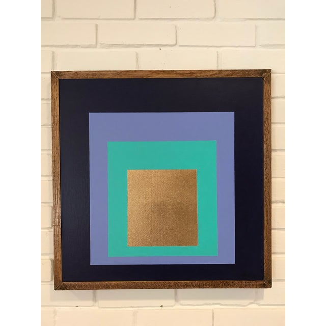 Josef Albers Original Framed Modern Painting by Tony Curry Homage to the Square For Sale - Image 4 of 5