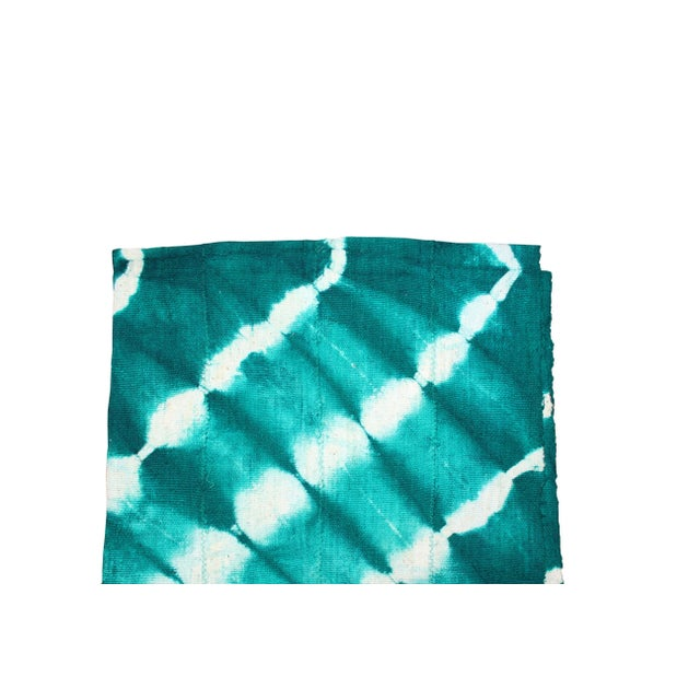 Teal Mud Cloth Textile For Sale - Image 4 of 4