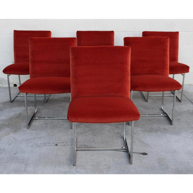 Metal Mid Century Modern Milo Baughman for Thayer Coggin Rust Persimmon Dining Chairs-Set of 6 For Sale - Image 7 of 10