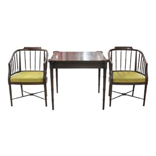 Drexel Heritage Faux Bamboo Game Table & Chairs - Set of 3