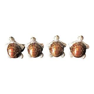 Turtle Enamel Napkin Rings - Set of 4 For Sale