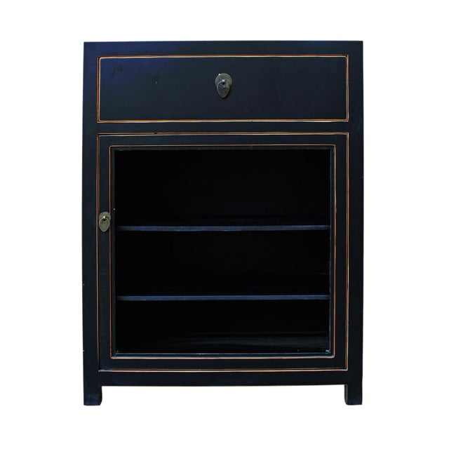 Black Lacquer Asian Contemporary Side Table Cabinet - Image 1 of 5