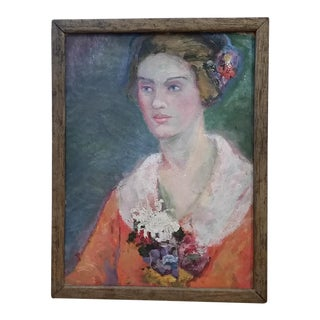1930s Woman & Flowers Impressionist Painting For Sale