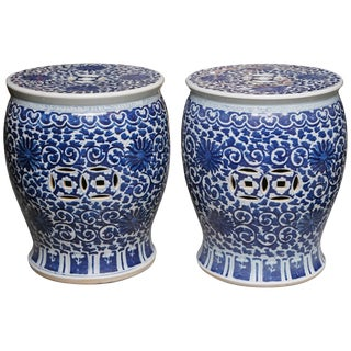 Superb Pair of Blue and White Cantonese Garden Seats