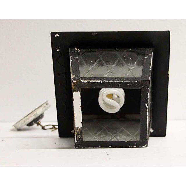 Metal Arts & Crafts Black Metal & Glass Exterior Ceiling Lantern For Sale - Image 7 of 9