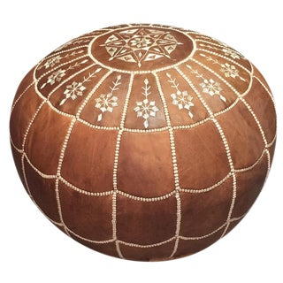 Brown Moroccan Pouf Ottoman Cover For Sale