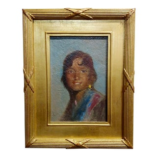 Portrait of a Native American Woman -Oil Painting For Sale