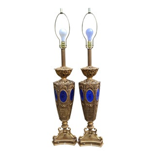 """1950s Pierced Brass Indo-Persian, Moroccan, Moorish Lantern Table Lamps 48"""" - a Pair For Sale"""