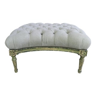 French Painted Tufted Bench
