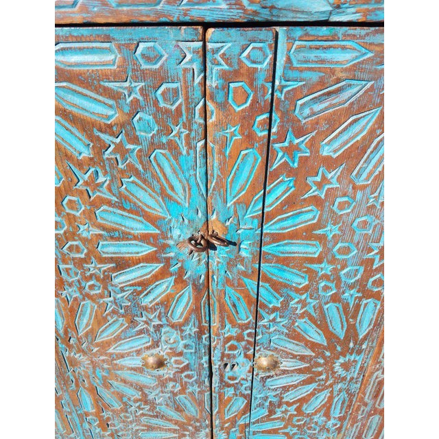 Antique Moroccan Turquoise Wooden Cabinet For Sale In Orlando - Image 6 of 7