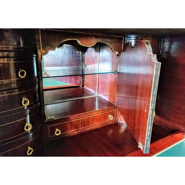 Empire / Biedermeier Style Lyre Form Secretary Desk in Mahogany With Gilt Dolphins For Sale - Image 12 of 13