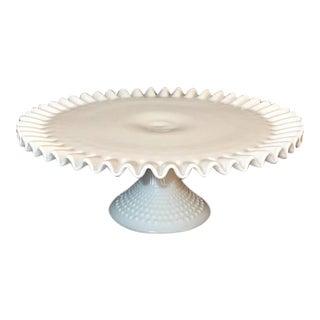 Vintage Fenton Crimped Milk Glass Cake Plate