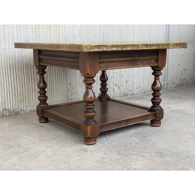 Gold 19th Spanish Zinc Top Coffe or Center Table With Turned Legs and Lower Tray For Sale - Image 8 of 12