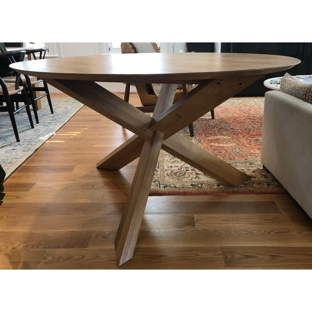 Lekker Home Handcrafted Oak Dining Table For Sale - Image 4 of 4