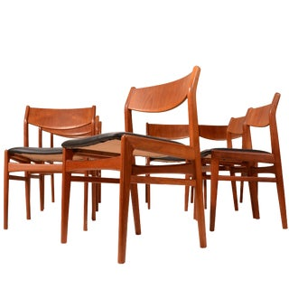 Teak & Leather Dining Chairs by Folke Ohlsson for Dux - Set of 8 For Sale