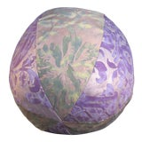 Image of Fortuny Purple and Green Fabric Orb Pillow For Sale