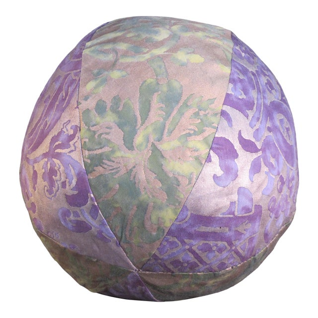 Fortuny Purple and Green Fabric Orb Pillow For Sale