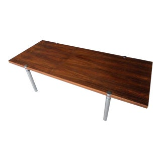 Rosewood & Chromed Metal Coffee Table in the Style of Milo Baughman, Circa 1970s For Sale