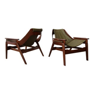 Pair of Mid Century Leather & Walnut Sling Chairs by Jerry Johnson For Sale