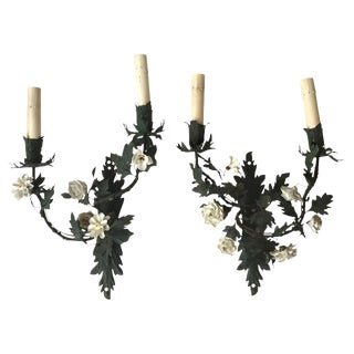 19th C. French Floral Sconces - A Pair