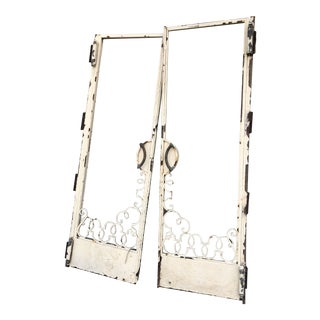 "Spanish Revival Metal French Doors - Set of 2 76"" X 54"" For Sale"