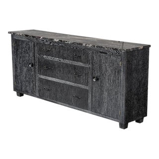 Marble and Cerused Oak Credenza