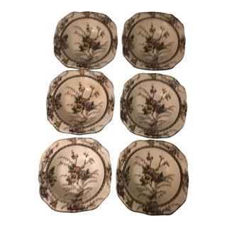 Vintage English Floral & Butterfly Dessert Bowls - Set of 6