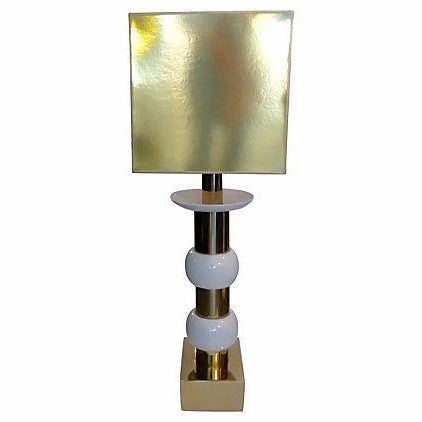 Mid-Century Brass and Ceramic Table Lamp For Sale