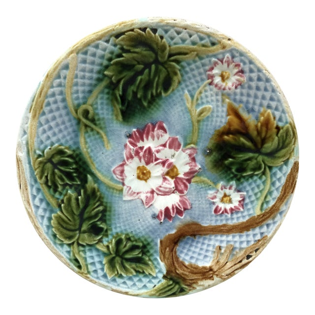 French Majolica Pink Flowers Salins, Circa 1880 For Sale