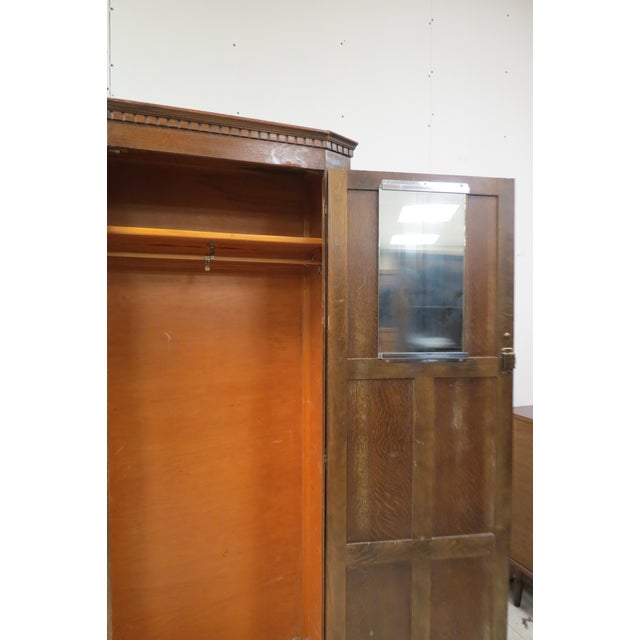 English Tiger Oak Linen Fold Wardrobe With Interior Mirror For Sale - Image 4 of 13
