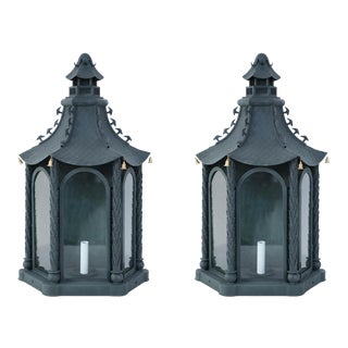 Pair of Chinese Vintage Metal and Glass Bell-Adorned Pagoda Shaped Wall Sconces For Sale