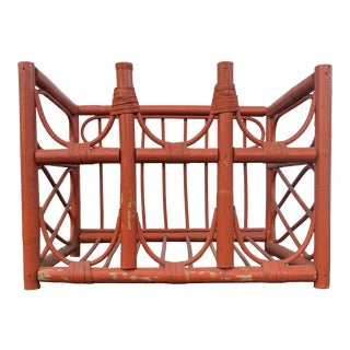 Vintage 1960s Orange Rattan Wine Rack For Sale
