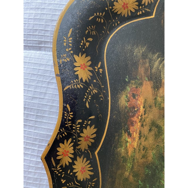 Chinoiserie 1920s Vintage Tole Chinoiserie Mother of Pearl Inlaid Hand-Painted Tray For Sale - Image 3 of 9