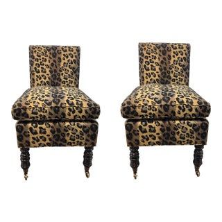Currey & Co. Transitional Leopard Print Overcourt Slipper Chairs Pair For Sale