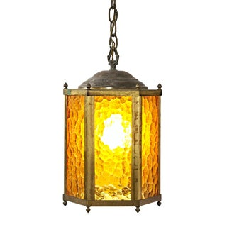20th Century Spanish Colonial Six Sided Brass and Textured Amber Glass Lantern