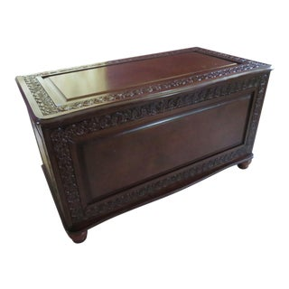Asian Rosewood Carved Cedar Blanket Chest