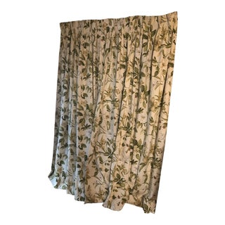 Custom Drapes Floral All White and Green For Sale