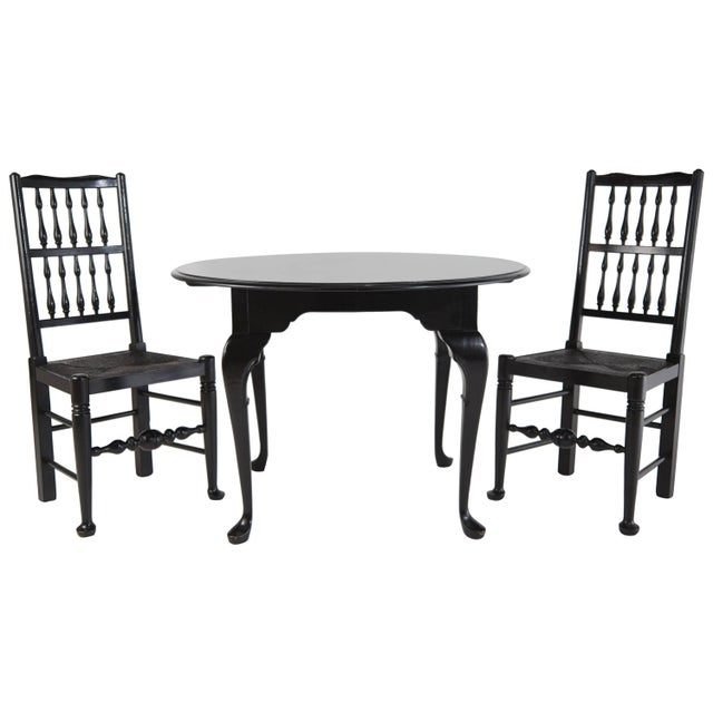 Colonial Revival Style Black Lacquer Chairs & Queen Anne Style Table Set For Sale - Image 4 of 4