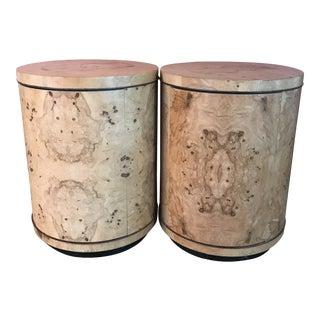 1970s Art Deco Henredon Olive Burl Wood Drum Side Tables - a Pair For Sale