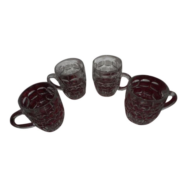 Beer Mugs Thumbprint Glasses - Set of 4 For Sale