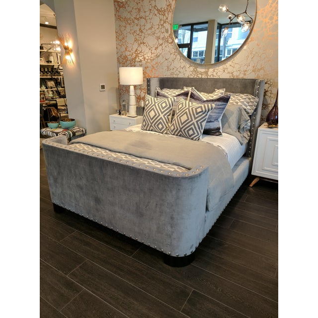 Contemporary Queen-Size Grey Velvet Bed Frame For Sale - Image 3 of 7