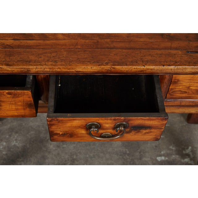 Brown 18th Century Antique Chinese Three Drawer Sideboard For Sale - Image 8 of 13
