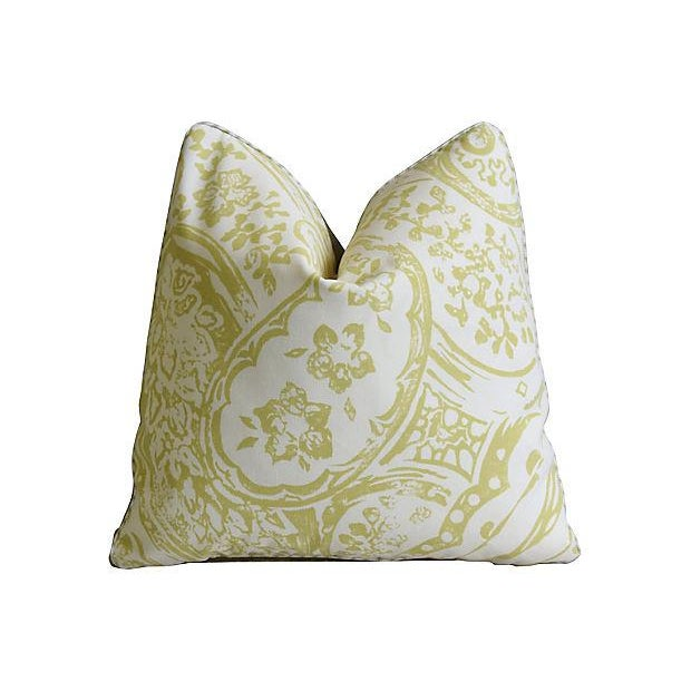 "Lee Jofa Designer Lee Jofa Paisley & Mohair Feather/Down Pillows 21"" Square - Pair For Sale - Image 4 of 14"
