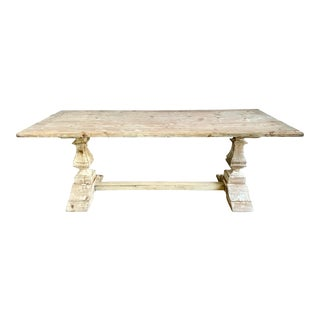 19th Century Italian White Washed Dining Table For Sale