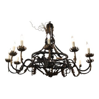 Spanish Colonial Wrought Iron Designer Chandelier by Traditional Imports For Sale