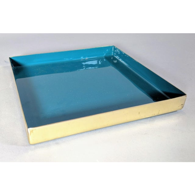 Brass and Enamel Blue, Teal & White Trays - Set of 3 For Sale - Image 11 of 13