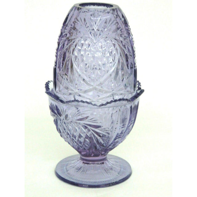 Fenton Wisteria New Heart Purple Glass Two Piece Fairy Lamp Candle Holder For Sale - Image 11 of 11