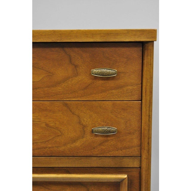 Mid-Century Modern Vintage Mid-Century Modern Walnut 5 Drawer Tall Dresser Highboy For Sale - Image 3 of 11