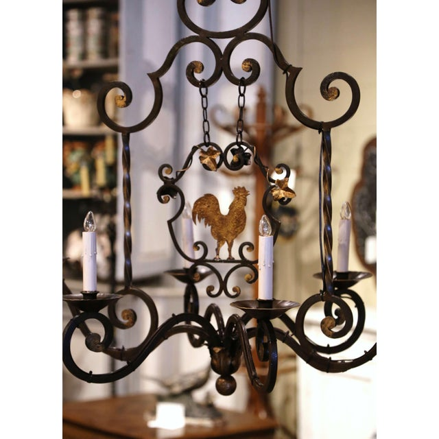 Early 20th Century French Six-Light Iron Chandelier With Center Rooster For Sale In Dallas - Image 6 of 13